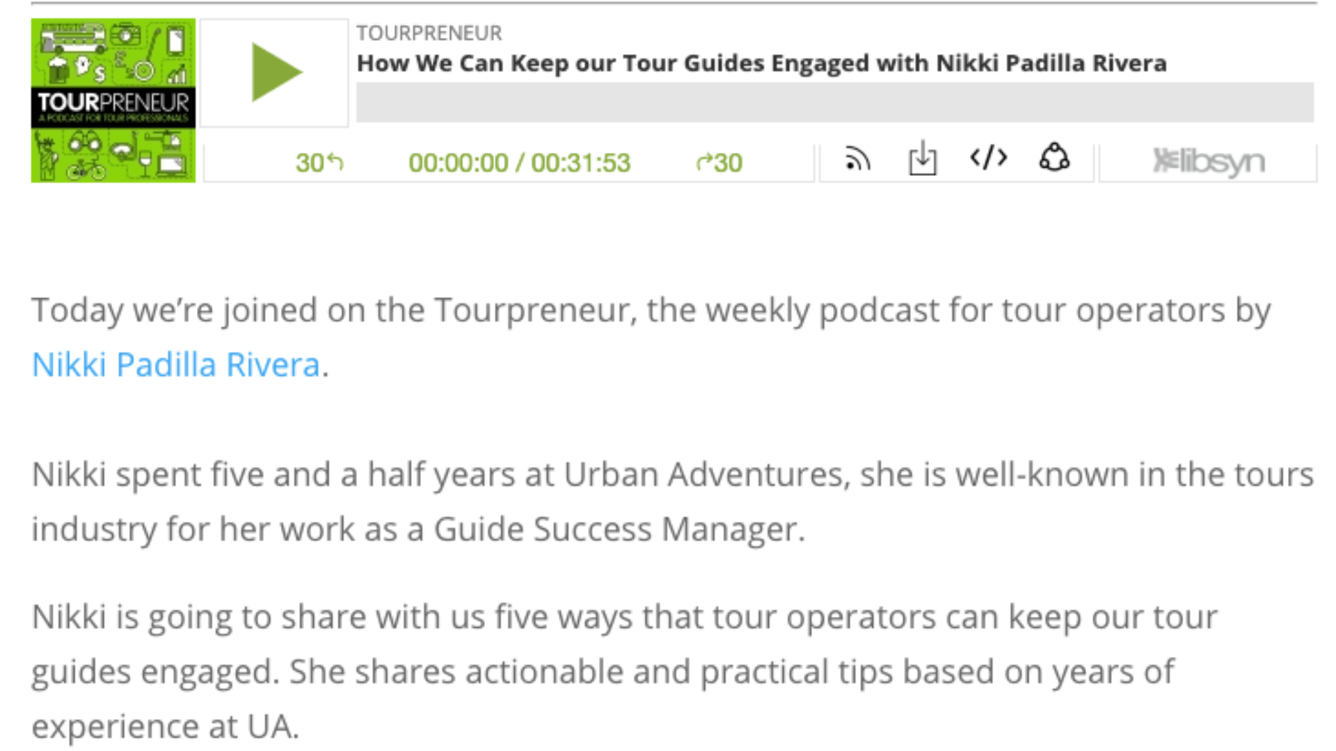 A screenshot of the Tourpreneur podcast, episode 75 about communicating with your tour guide team