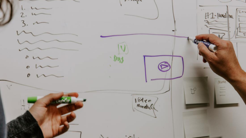 Two hands draw a strategy on a whiteboard