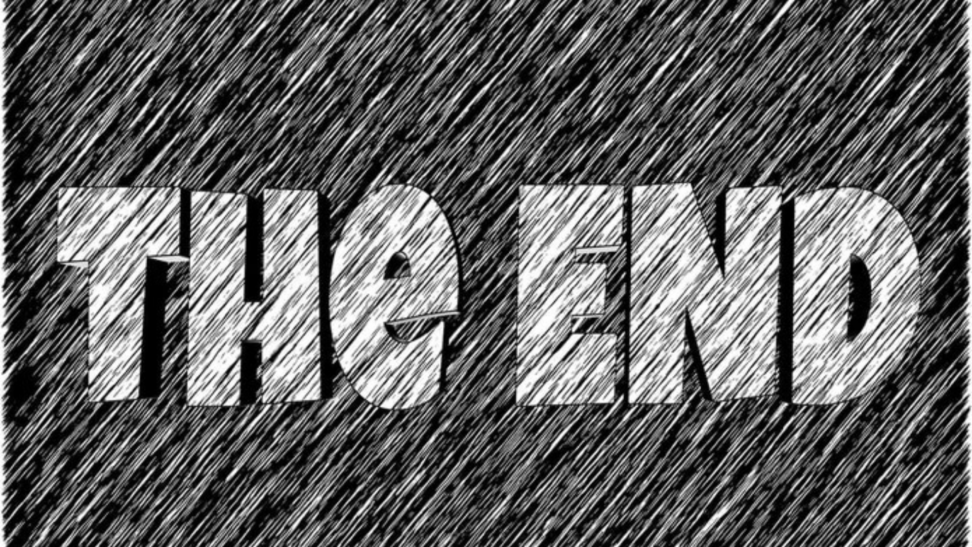 "A line drawing that says ""The End"""