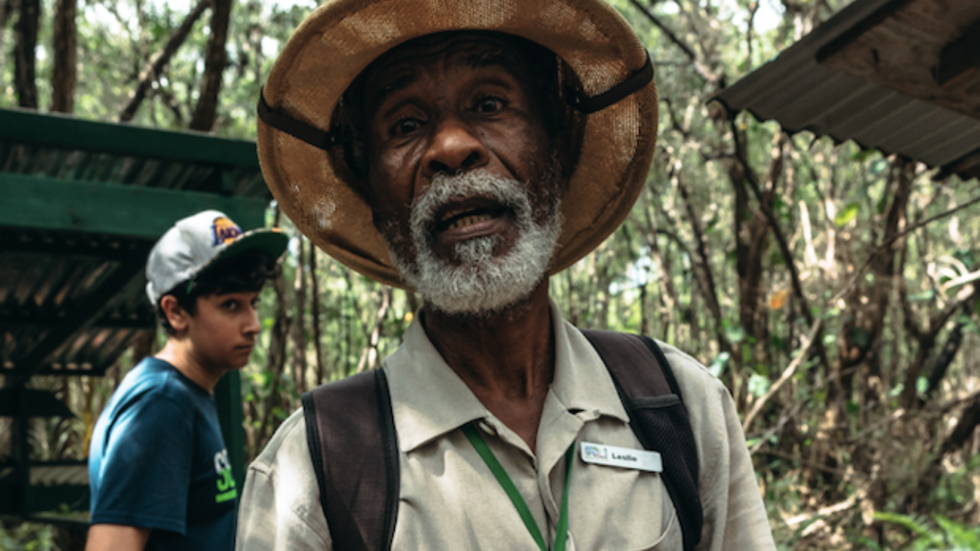 An older black park ranger as a local guide