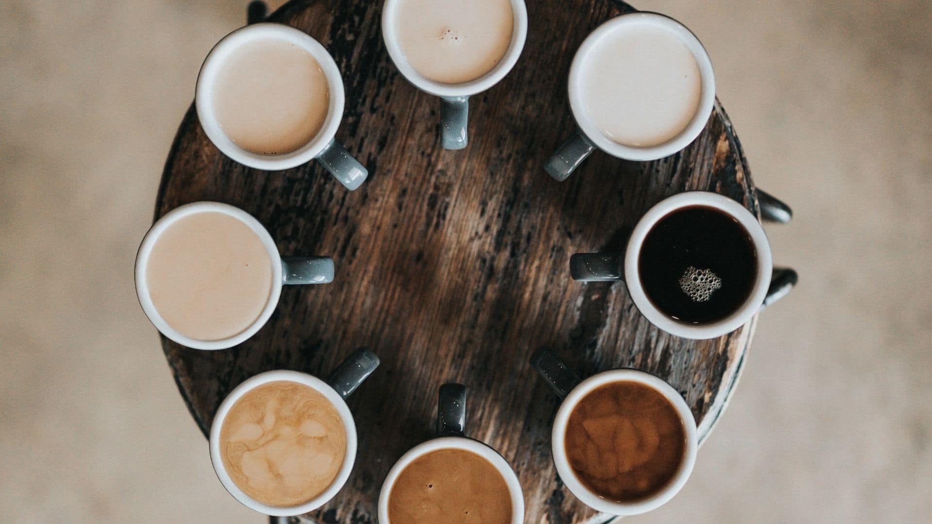 Choice of different types of coffee on a tray.